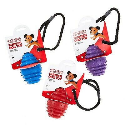 £7.56 • Buy Large Solid Tough Hard Rubber Dog Rope Oval Ball Fetch Toys Blue Purple Red