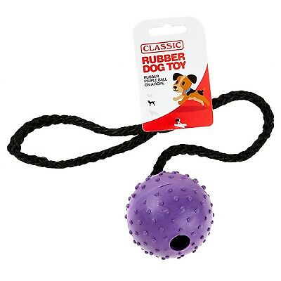 £7.18 • Buy Purple Large Solid Tough Hard Rubber Dog Rope Pimple Ball Fetch Toys- Classic