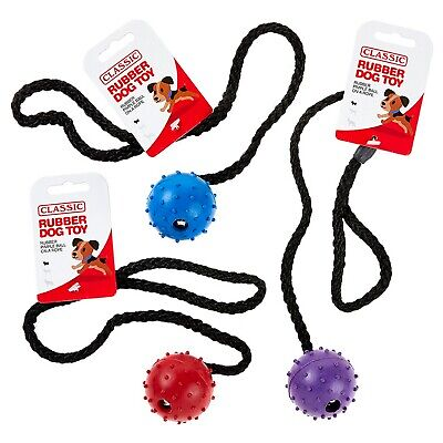 £7.18 • Buy Dog Rubber Pimple Ball With Rope Solid Tough Hard Strong Fetch Toys Puppies