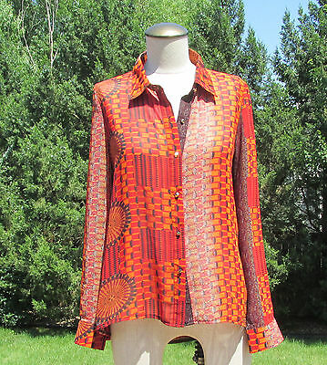 $11.99 • Buy Nwt SANS SOUCI Tribal Geo Print Sheer Blouse/Top  SZ Small