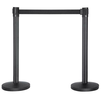 2Pcs  Queue Way Pole Crowd Control Retractable Barriers Belt Stanchion Set Used • 23.99£