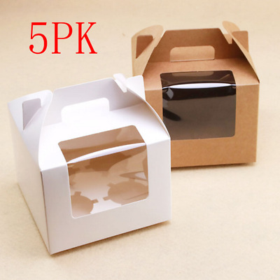 AU10.99 • Buy 5PK Kraft Cupcake Box With Handle 4 Hole Window Face Cases Party Box Brown/White