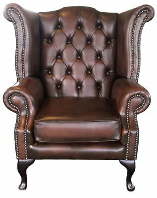 AU1069.93 • Buy Chesterfield London Antique Brown Genuine 100% Leather Queen Anne Wing Chair