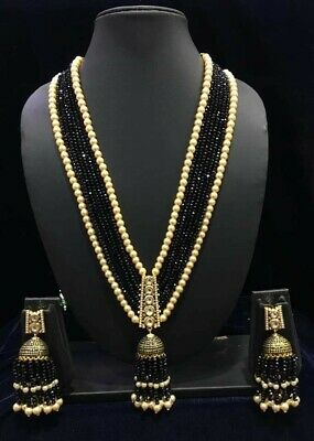 $42 • Buy Black Bead Kundan Ethnic Bollywood Indian Wedding Long Necklace & Jhumka Earring