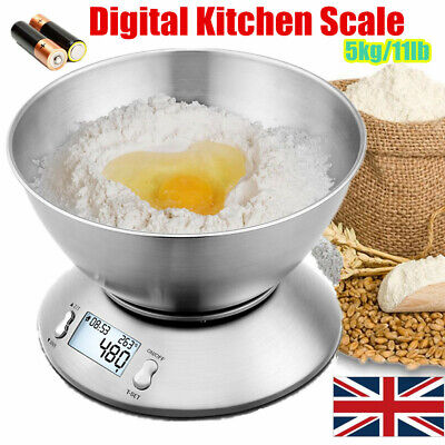 5Kg/1g Digital Kitchen Scale Electronic Household Food  Weighing Bowl Scales UK • 13.99£