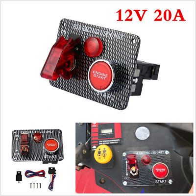 12V Ignition Push Button Start Starter Switch Panel W/Toggle For Car/Boat/Marine • 15.88£