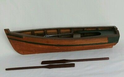 Vintage 16  Hand Crafted Wooden Boat With Paddle Oars Folk Art Nautical • 67.14£