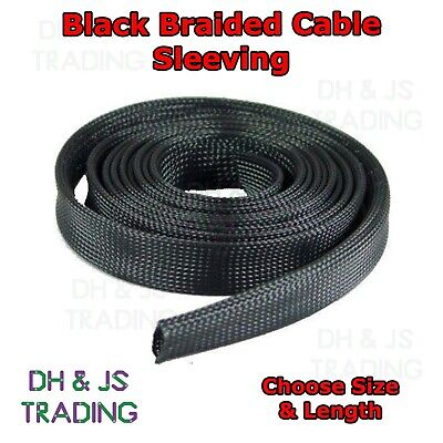 Black Braided Cable Sleeving - Expandable Wire Harness Marine Auto Sheathing • 1.65£