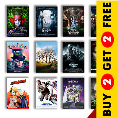 £3.49 • Buy BEST TIM BURTON MOVIE POSTERS A3 / A4 Size Glossy Art Print Home Wall Decoration