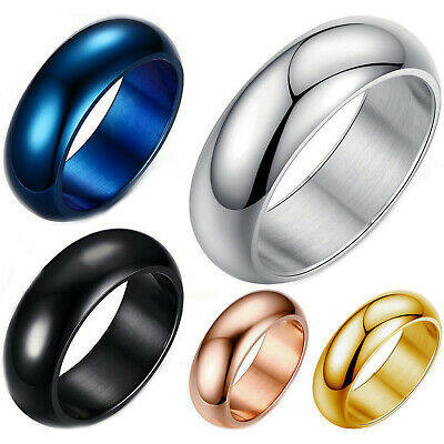 $6.99 • Buy Stainless Steel 7mm Dome Ring Polished Comfort Fit Men's & Women's Wedding Band