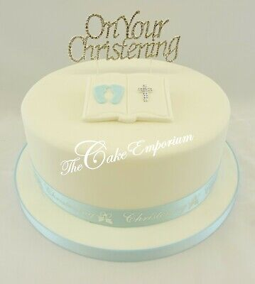 Diamante Topper Christening Cake  Pink Or  Blue  Bible Ribbon & Bow Sets  • 8.99£