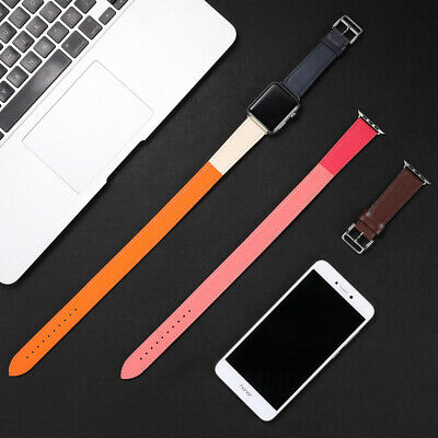 AU29.99 • Buy Leather Watch Band Double Tour Strap For Apple Watch Band 38mm 42mm 40mm 44mm