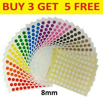 8mm Coloured Dot Stickers Round Sticky Dots Adhesive Circles Labels • 0.99£