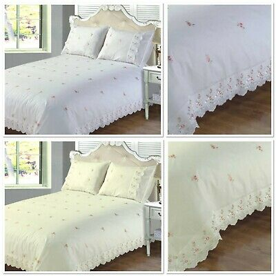 Rapport Sophie Pink Rose Embroidered Lace Duvet Cover Bedding Set White Or Cream • 26.99£