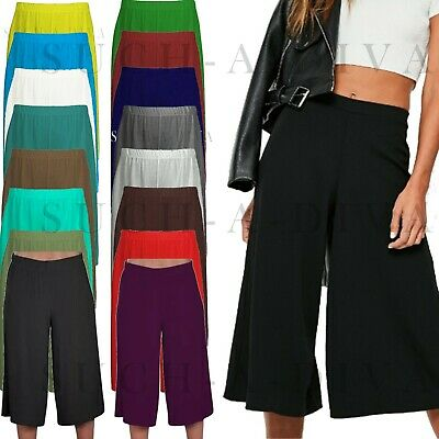 Ladies Womens Elasticated Stretch Wide Leg Culottes 3/4th Length Plus Size 8-26 • 5.45£