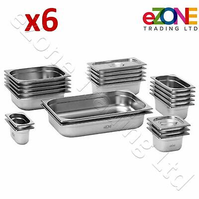 £45.99 • Buy 6x Gastronorm Pan Stainless Steel Gastro Container Tray Bain Marie Food Pot Lid