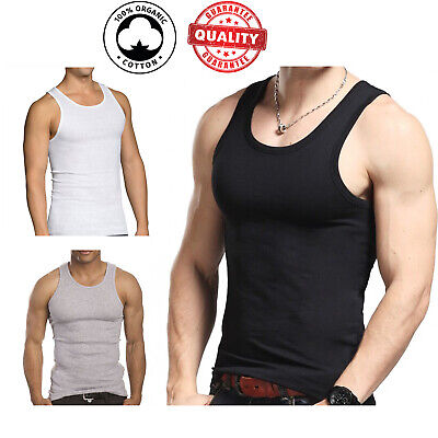 $10.89 • Buy 3 Pc Men 100% Cotton A-Shirt Tank Top Ribbed Undershirt Wife Beater Black Muscle