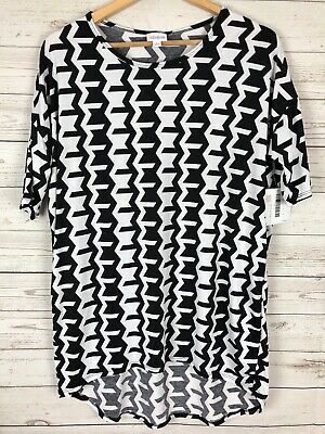 47ccdeb13441f NEW LuLaRoe Irma Women's Black White Printed Geometric Hi-Lo Tunic Blouse  Small • 6.00
