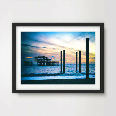 £21.99 • Buy BRIGHTON WEST PIER SUNSET ART PRINT Poster Home Wall Decor Picture A4 A3 A2 Size
