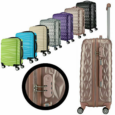 NEW ABS Hard Shell Cabin Suitcase Case 4 Wheels Luggage Lightweight 20  24  28  • 84.99£