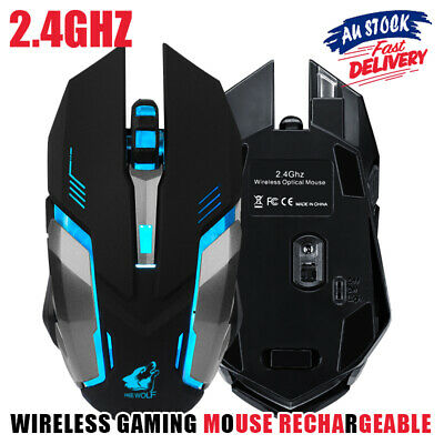 AU18.70 • Buy 2.4GHz Gaming Mouse USB Ergonomic Wireless Rechargeable LED Light Optical