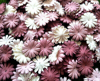 50 Pcs. Mixed Rosewood Tone & White Daisy Flowers Mulberry Paper For Craft & DIY • 4.50£