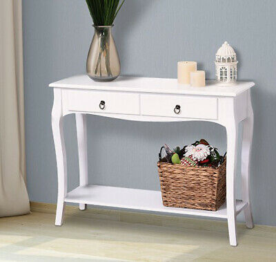 French Style Console Table 2 Drawer 1 Shelf Hall Hallway Furniture Desk White • 97.80£
