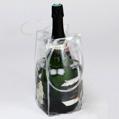 Clear Ice Bag Plastic Carrier Bottle Wine Cooler Chiller Travel Party Bucket Hot • 3.71£