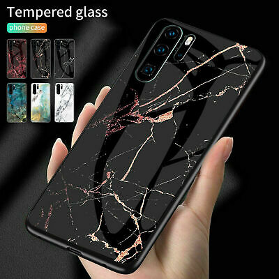 AU16.55 • Buy For Huawei Various Phones Marble Pattern Hybrid Tempered Glass Back Case Cover