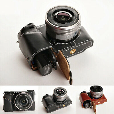 AU78.73 • Buy Leather Half Bottom Camera Case Fit For SONY A6000 Bag Cover Opening Versions