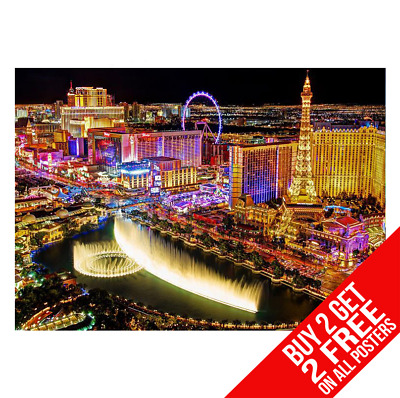 Las Vegas Bellagio Fountains Poster A3 A4 Size Bb1 Print - Buy 2 Get Any 2 Free • 8.99£
