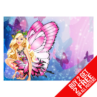 Barbie Butterfly Poster Art Print A4 A3 Size - Buy 2 Get Any 2 Free • 8.99£