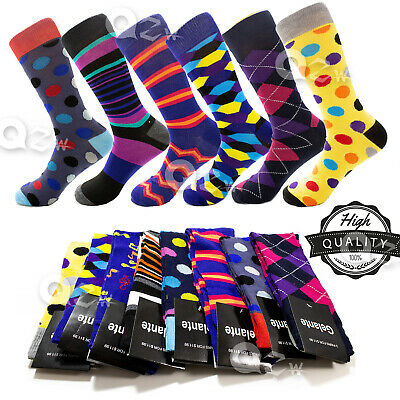 $17.99 • Buy 3-12 Pairs Mens Fun Funky And Colorful Patterned Dress Socks Wedding Groovy Sock