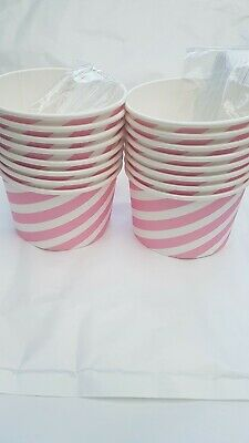 16 X Paper Ice Cream Tub With Spoons Great For Party And All Occasion • 4.99£
