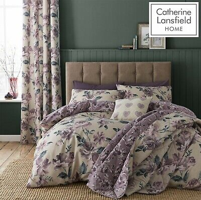 £18.89 • Buy Catherine Lansfield Painted Floral Reversible Duvet Cover Bedding Set Plum