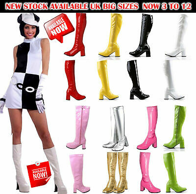 New Women's Ladies Fancy Dress Party GO GO Boots - 60s & 70s Party Sizes 3 TO 12 • 23.99£