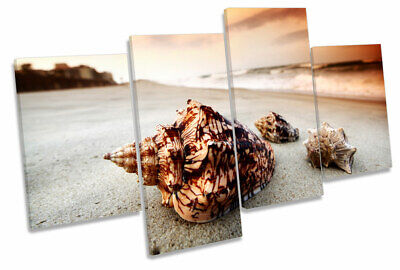 £139.99 • Buy Sea Shell Sunset Beach MULTI CANVAS WALL ART Print Picture