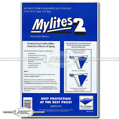 $23.95 • Buy 50 - Mylites 2 Large Comics, Magazines & Letters 2-Mil Mylar Bags Gerber - 875M2
