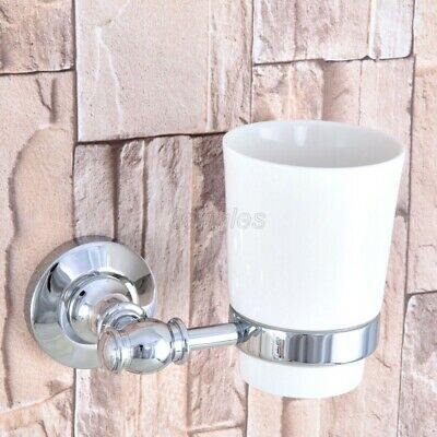 Polished Chrome Wall Mounted Toothbrush Holder With Single Ceramic Cup 8ba791 • 21.74£
