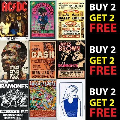 £2.99 • Buy VINTAGE BEST BAND ALTERNATIVE ROCK MUSIC CONCERT POSTERS A4 A3 300gsm QUALITY
