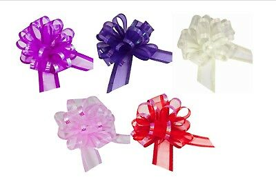 50mm Organza Pull Bows Large Florist Ribbon Wedding Car Decorations Gift Wrap • 1.49£