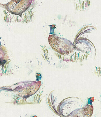 Dashing Pheasants 100% Cotton Fabric Voyage Curtains Cushions Crafts • 19.99£