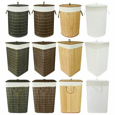 Folding Bamboo Laundry Hamper Basket Storage Bin Dirty Clothes Washing Bag • 9.99£