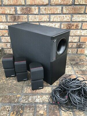 bose acoustimass 7 home theater system w/ 3 double cube speakers & wires •  150 00
