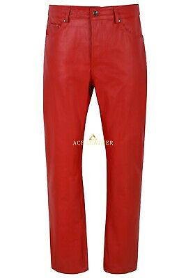 £100 • Buy Men's Real Leather Trouser Red Cowhide Classic Jeans Fashion Biker Style 501