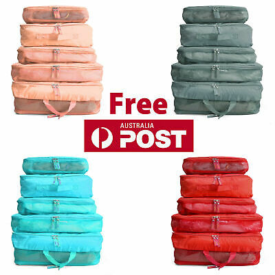 AU3 • Buy 5pcs Packing Cube Pouch Suitcase Clothes Storage Bags Travel Luggage Organiser