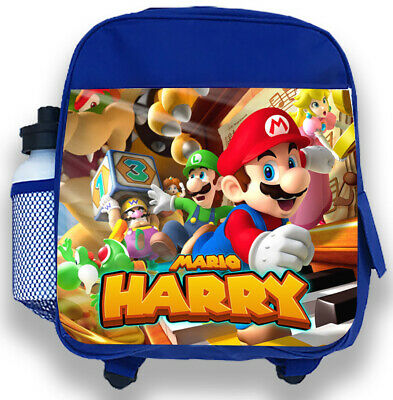 Personalised Kids Backpack Any Name Mario Boys Childrens Back To School Bag 1 • 14.95£