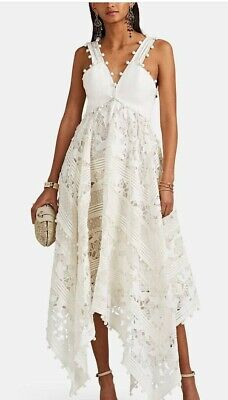New Zimmermann IVORY Design Corsage Embellished Asymmetric MIDI Dress Size 0,1,2 • 420$