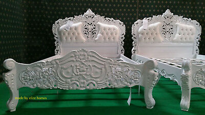Solid White 5' King Size Oriental Carved Mahogany Designer French Rococo Bed • 899£