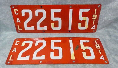 $ CDN477.63 • Buy 1914 CA California First Year Porcelain License Plates Matched Pair